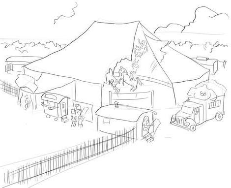 как нарисовать цирк поэтапно