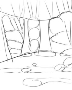 Как-нарисовать-водопад-карандашом-поэтапно-2