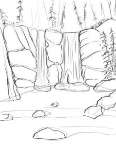 Как-нарисовать-водопад-карандашом-поэтапно-3
