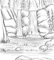Как нарисовать водопад