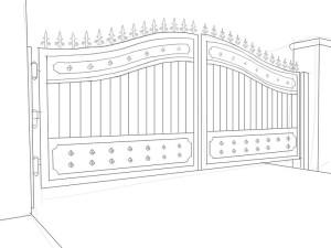 Как-нарисовать-ворота-карандашом-поэтапно-4