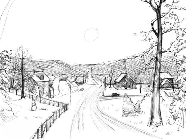 Нарисовать поэтапно зиму карандашом поэтапно для начинающих 40