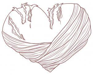 Как нарисовать раненое сердце?