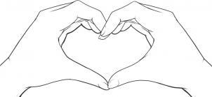 Как нарисовать сердце из рук?