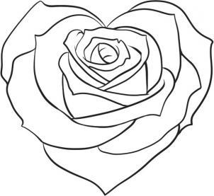 Как нарисовать розу в форме сердца?