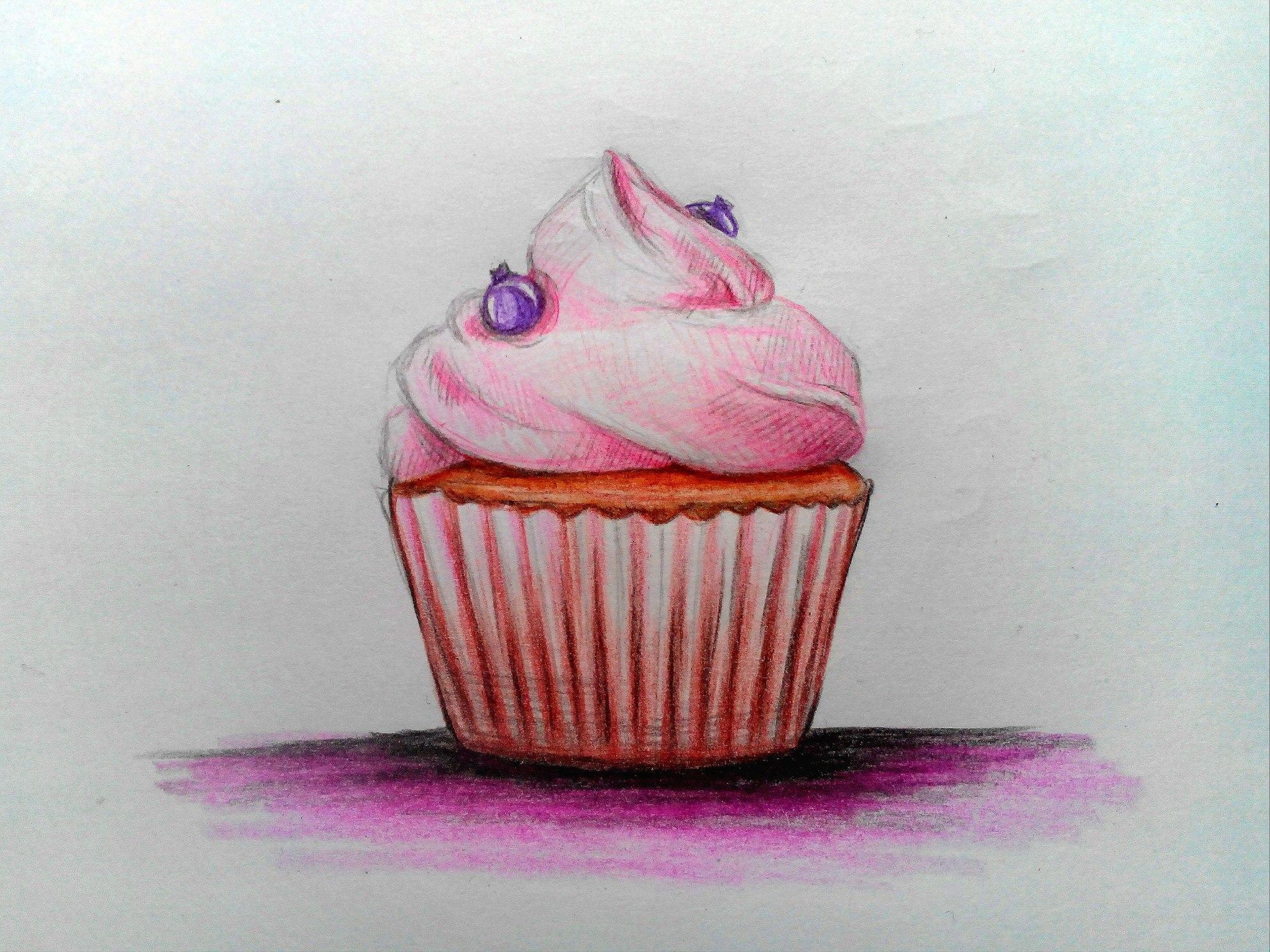 Как нарисовать кекс цветными карандашами поэтапно?