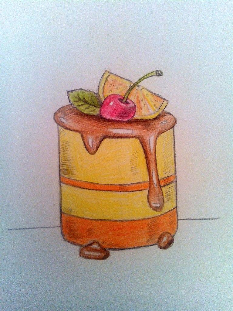 Как нарисовать пирожное цветными карандашами поэтапно?