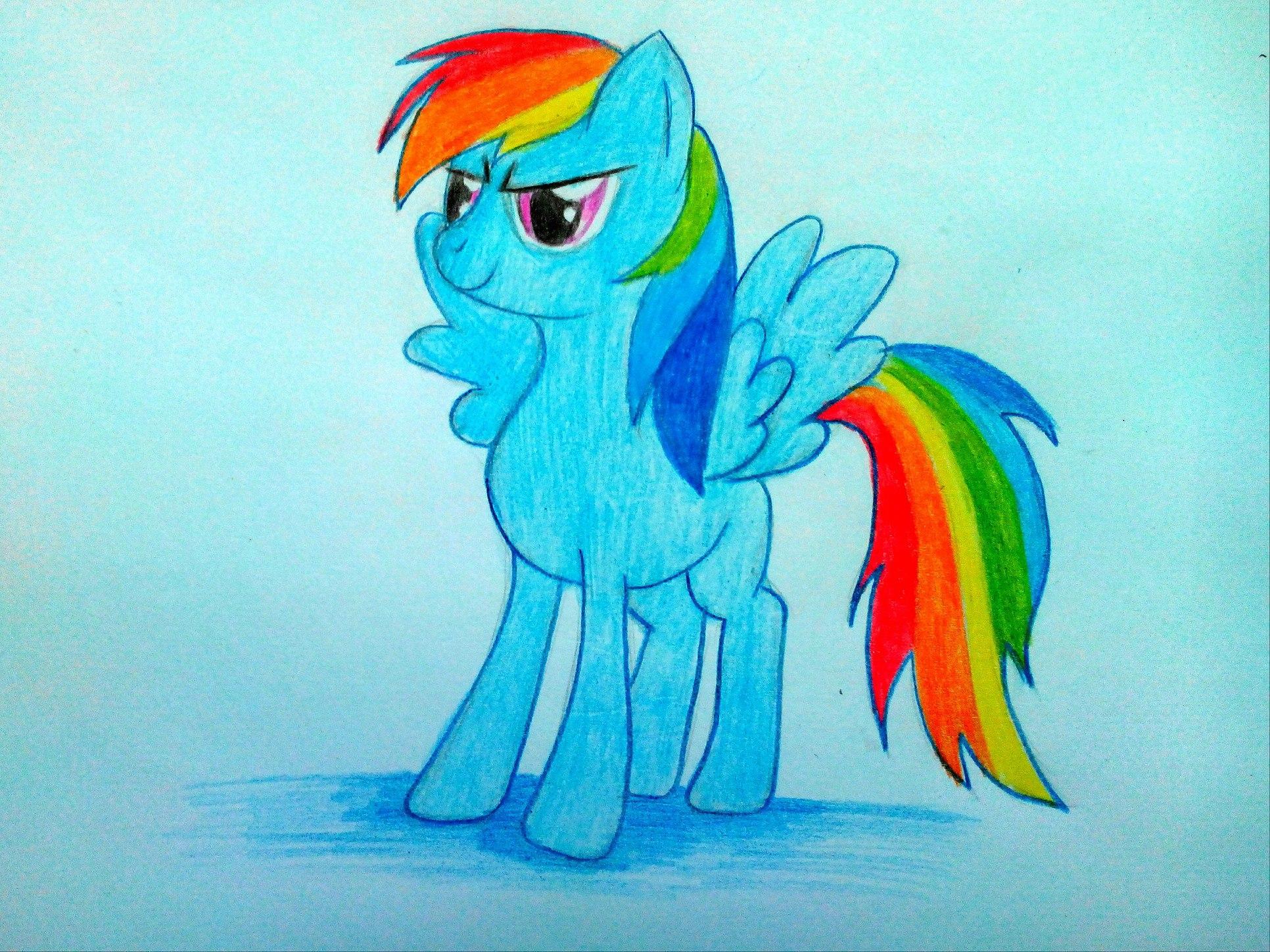 Как нарисовать пони Радугу из мультфильма «Май Литл пони»?