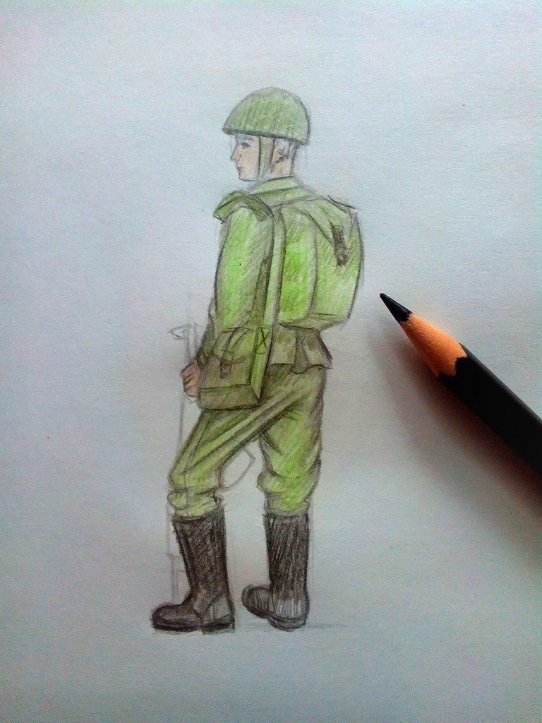 Фото солдата как нарисовать