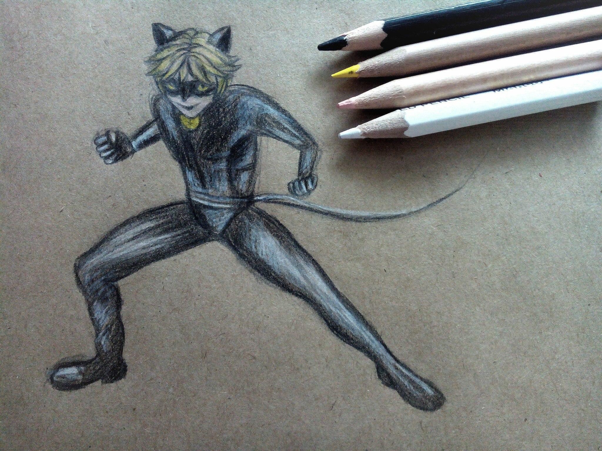 Как нарисовать Супер-Кота карандашом поэтапно
