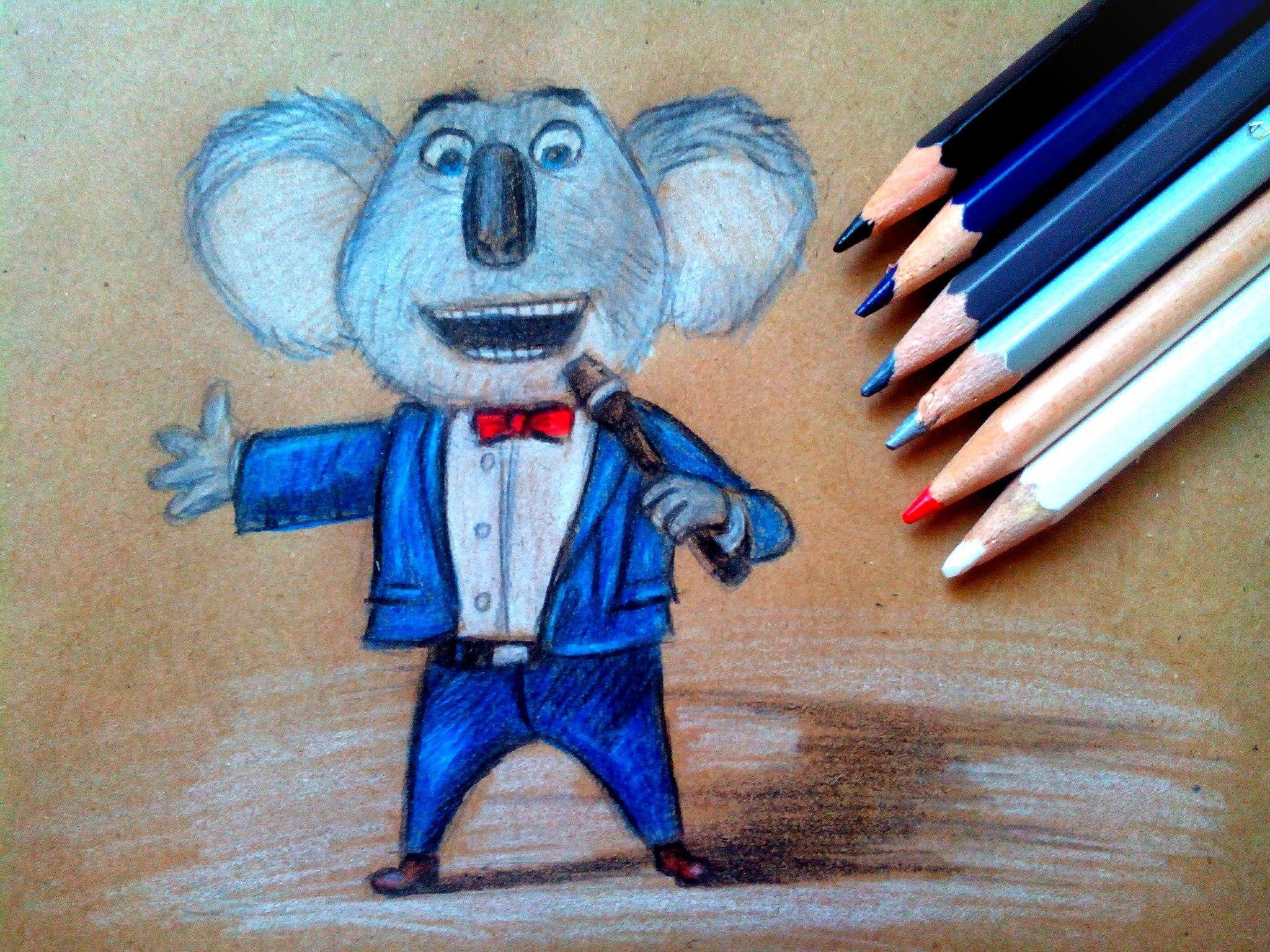 Как нарисовать Бастера Муна из «Зверопой» карандашом поэтапно?
