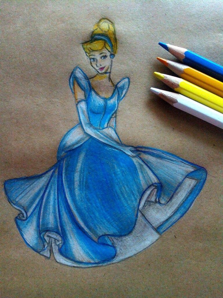 Как нарисовать Золушку карандашом поэтапно