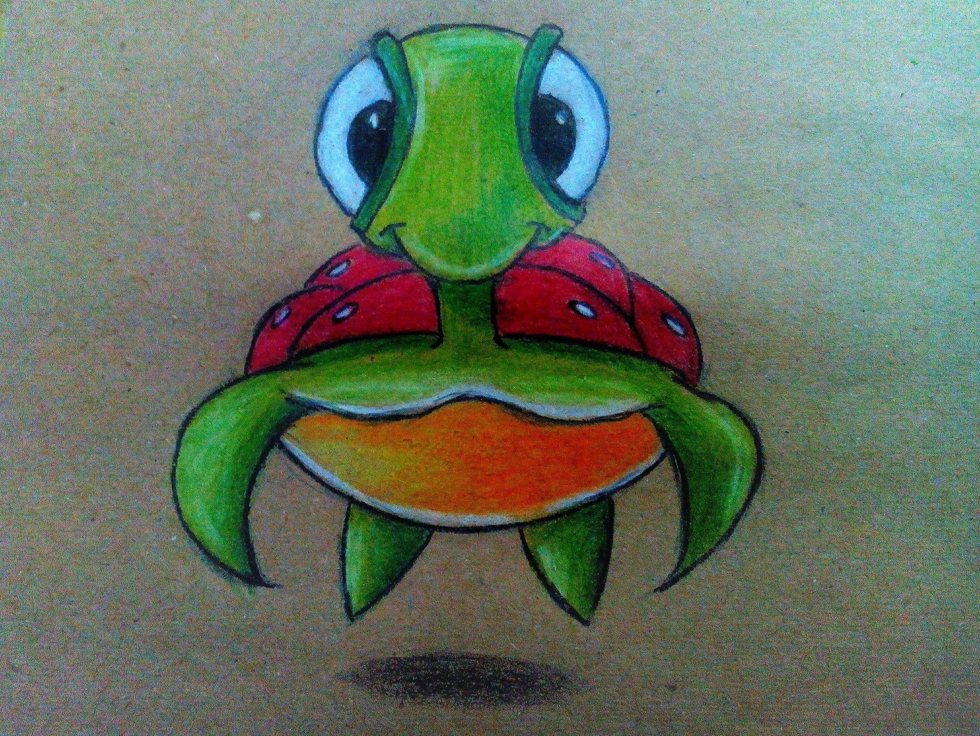 Как нарисовать черепаху карандашом поэтапно?
