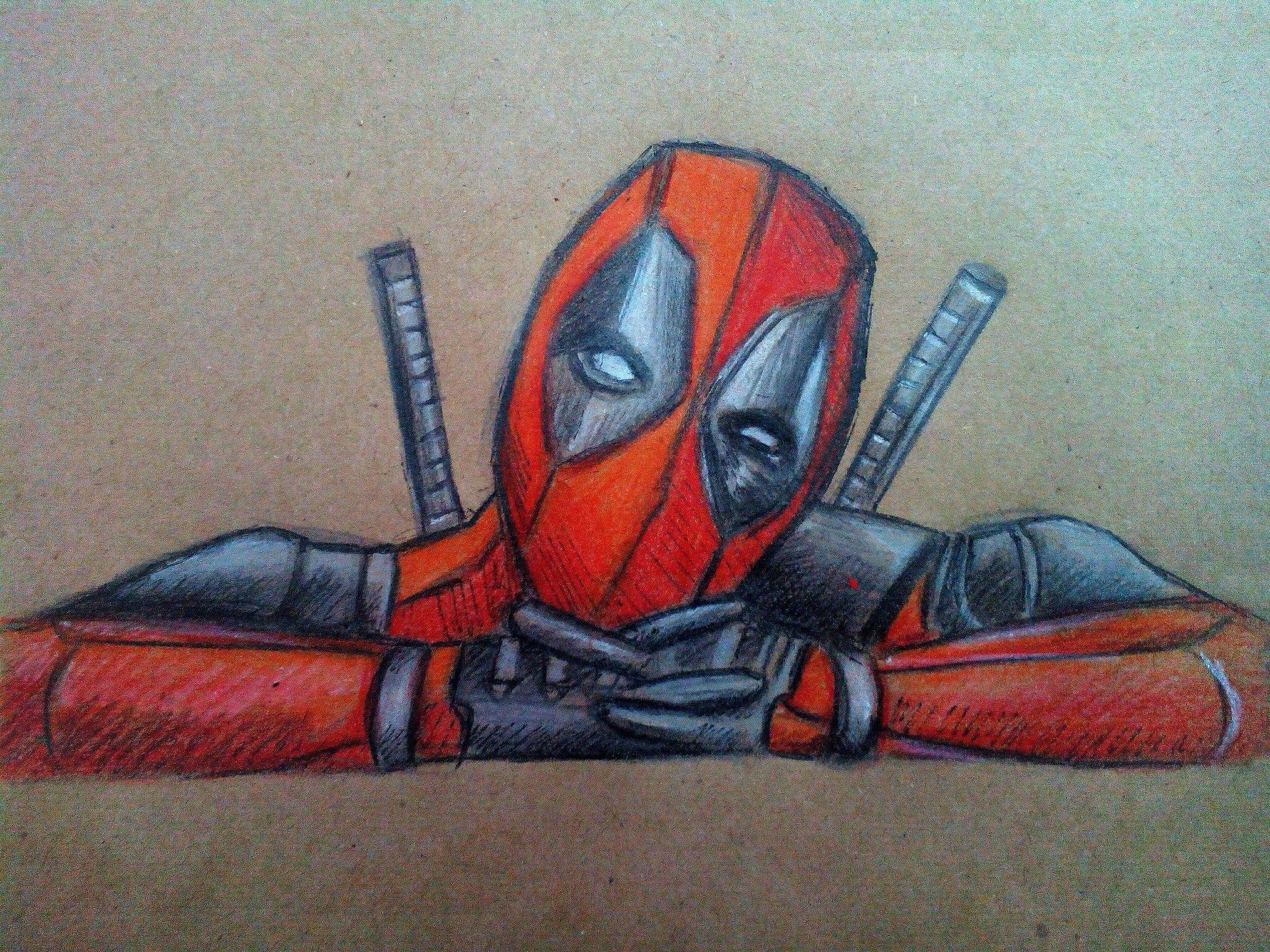 Как нарисовать Дэдпула карандашом поэтапно?