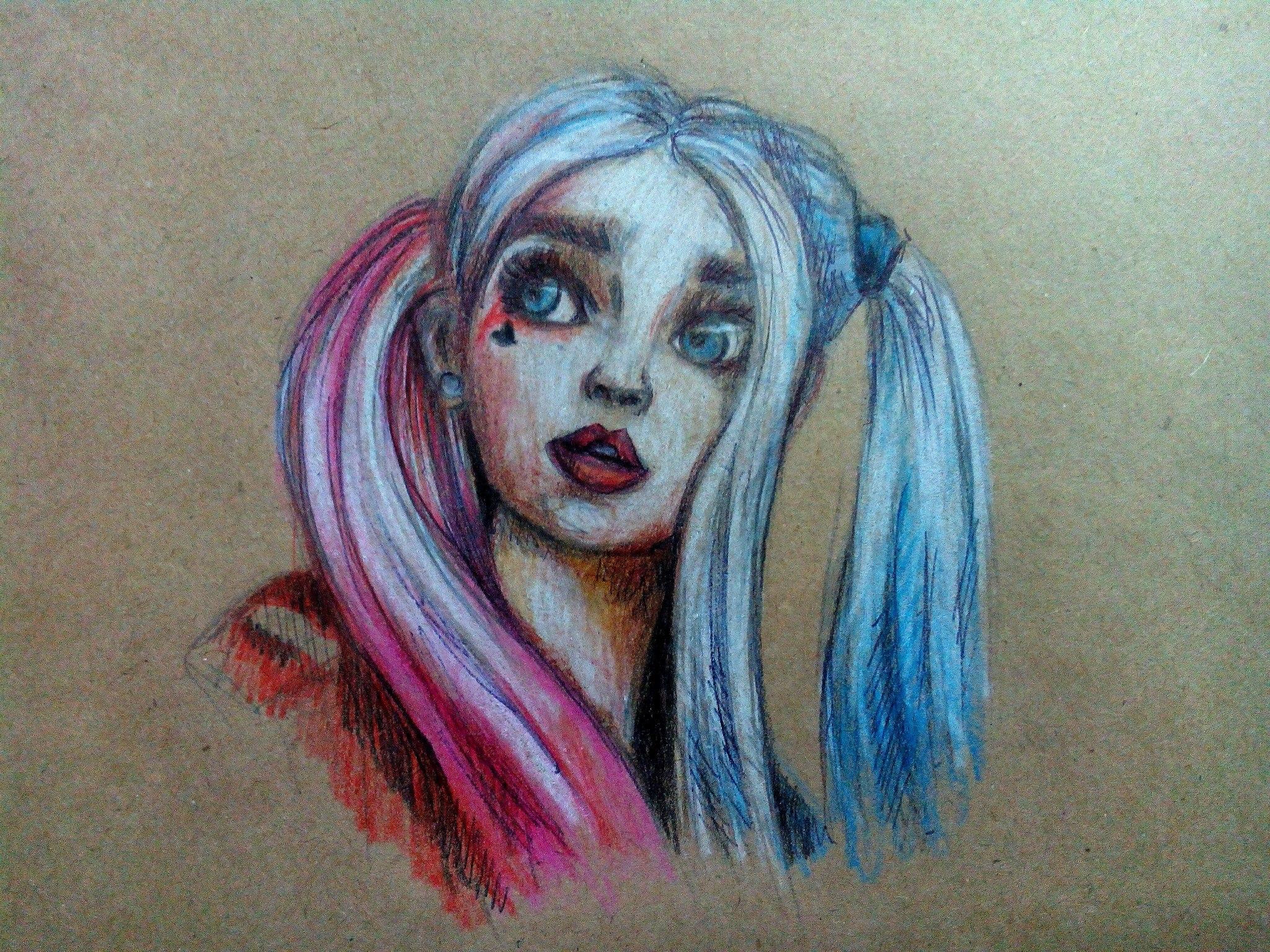 Как нарисовать Харли Квинн карандашом поэтапно