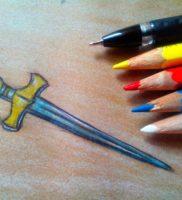 Как нарисовать меч карандашом поэтапно
