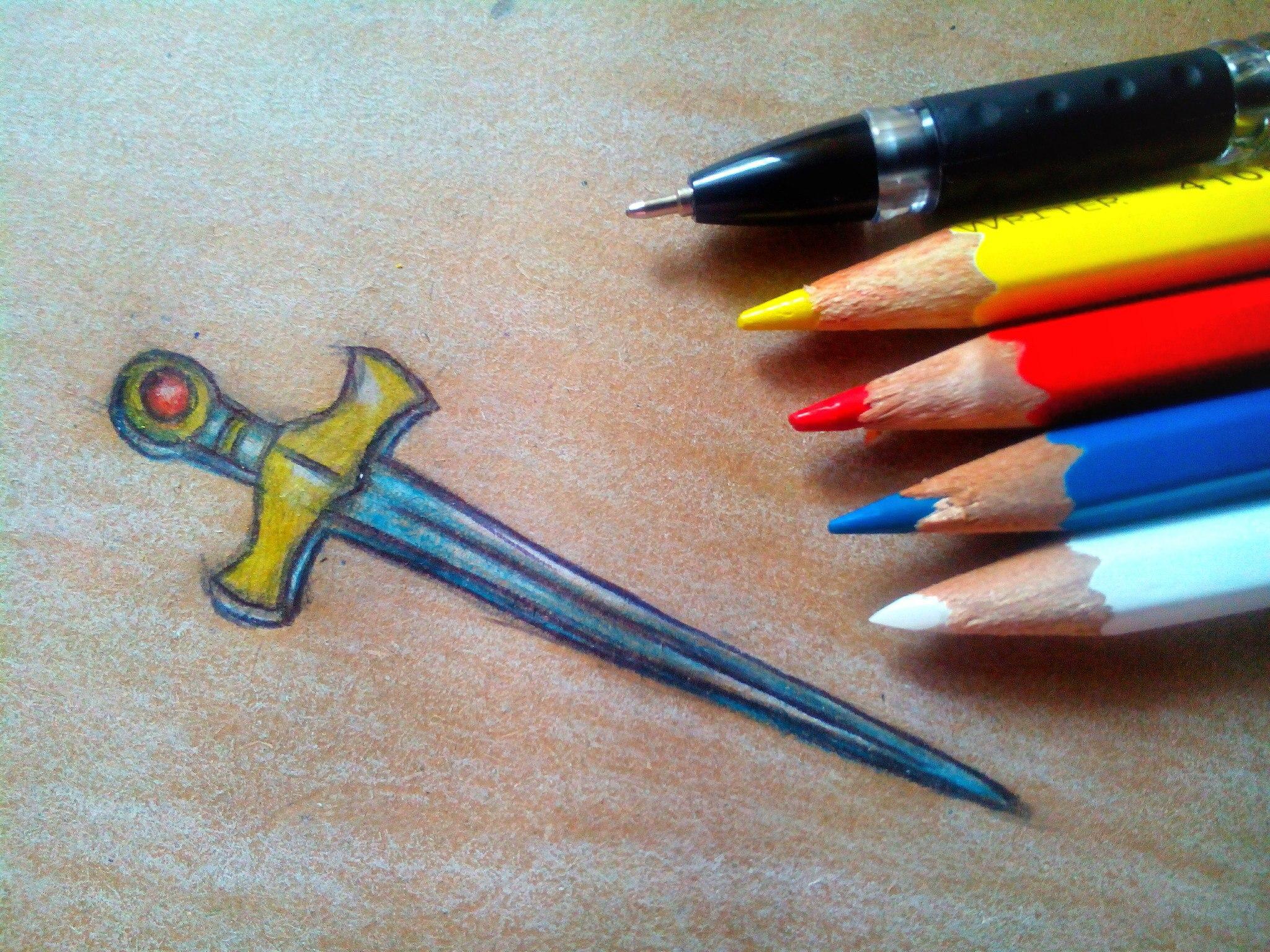 Как нарисовать меч карандашом поэтапно?