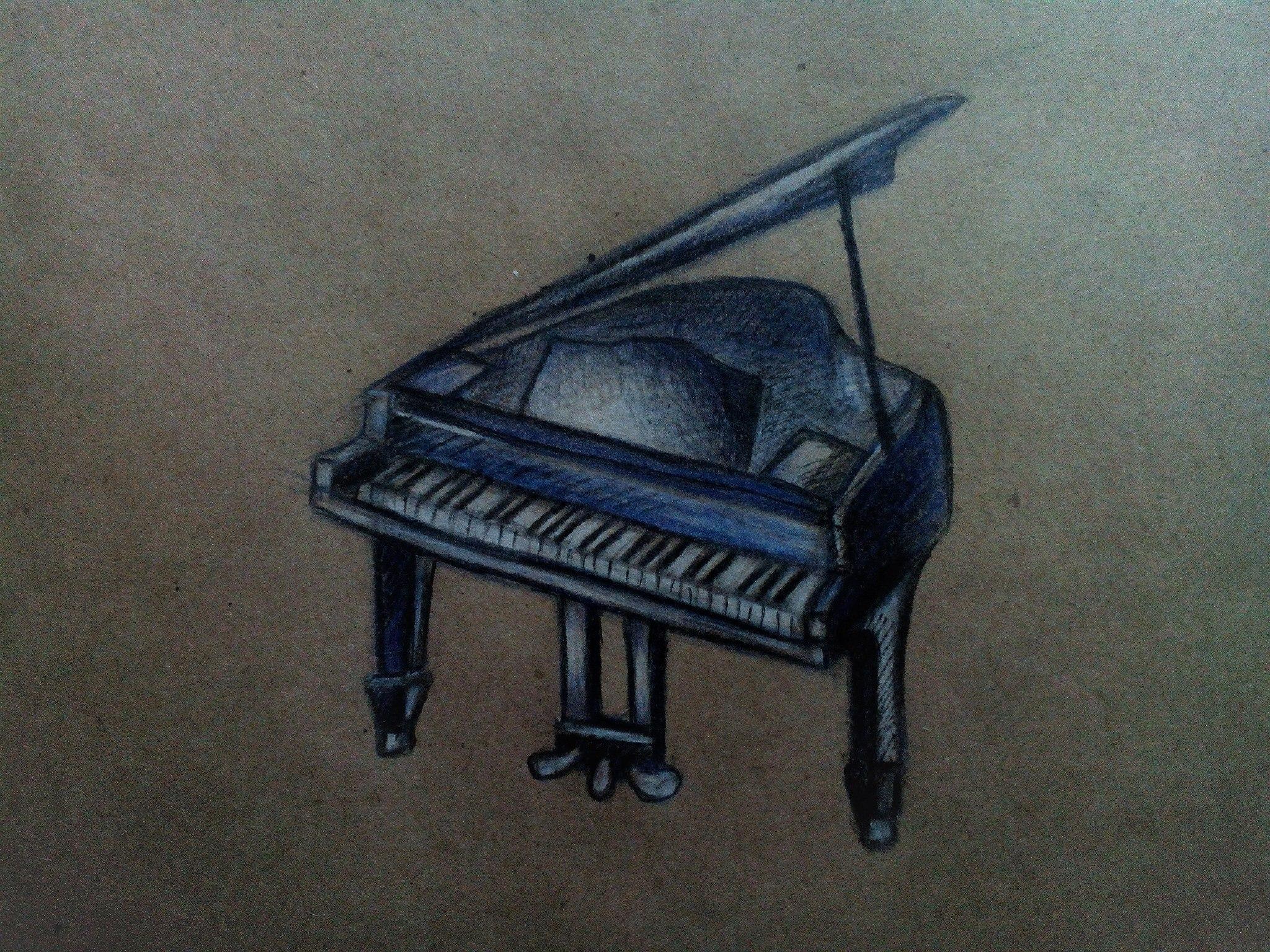 Как нарисовать рояль карандашом поэтапно?