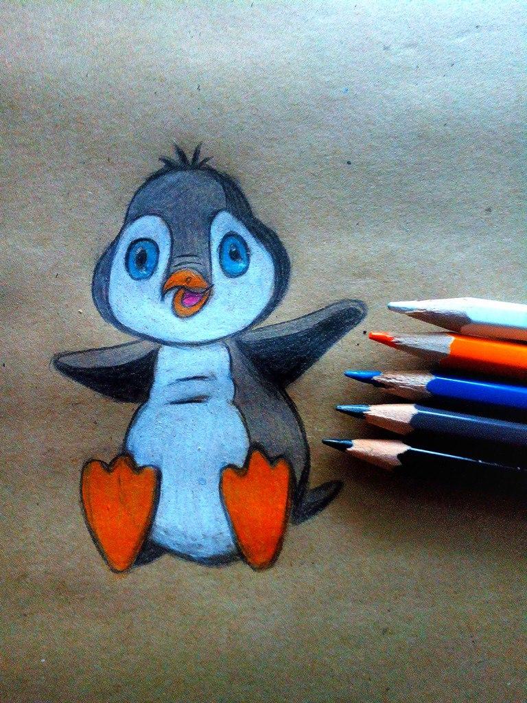 Как нарисовать пингвина карандашом поэтапно?