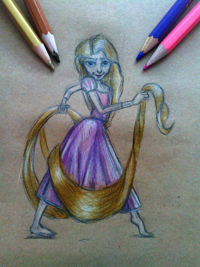 Как нарисовать Рапунцель карандашом поэтапно?