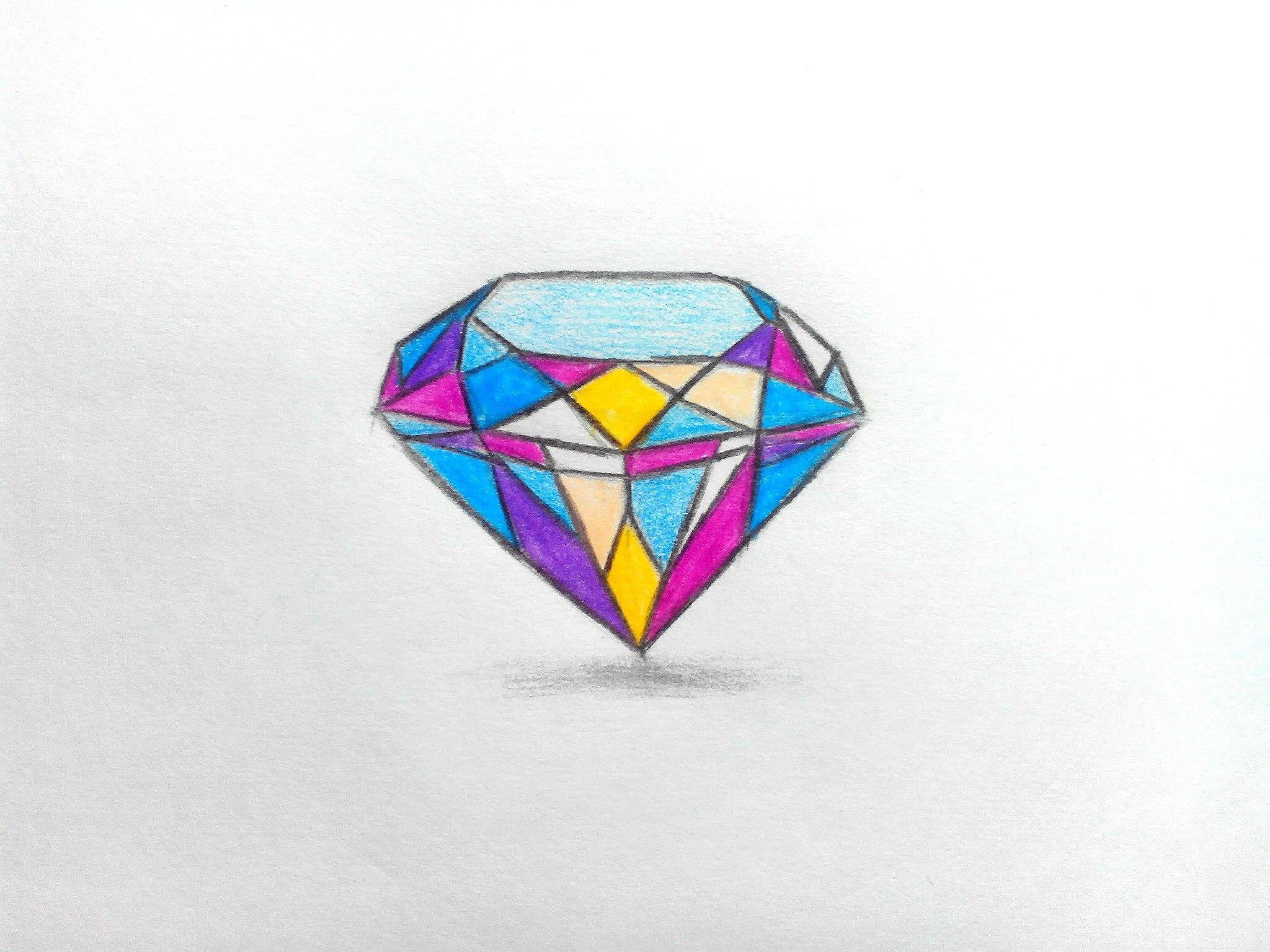 Как нарисовать алмаз карандашом поэтапно?