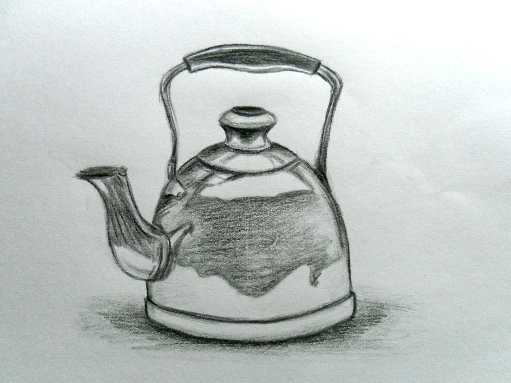 Как нарисовать чайник карандашом поэтапно?