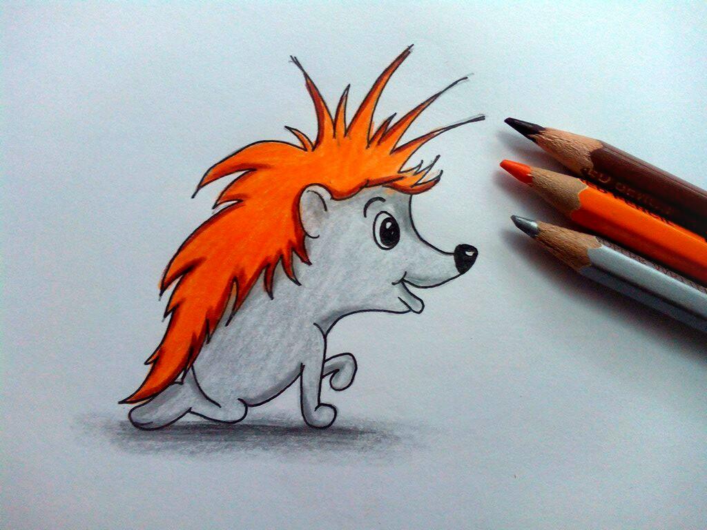 Как нарисовать ежа карандашом поэтапно?