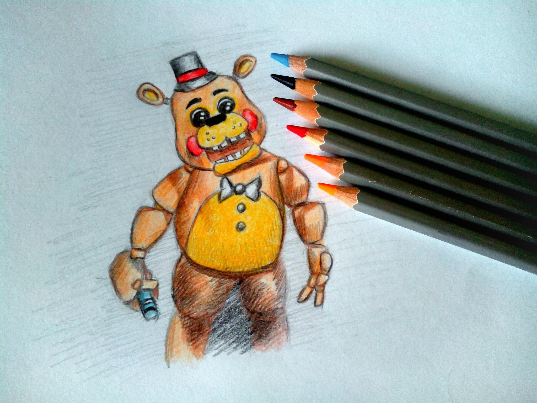 Как нарисовать Фредди карандашом поэтапно?