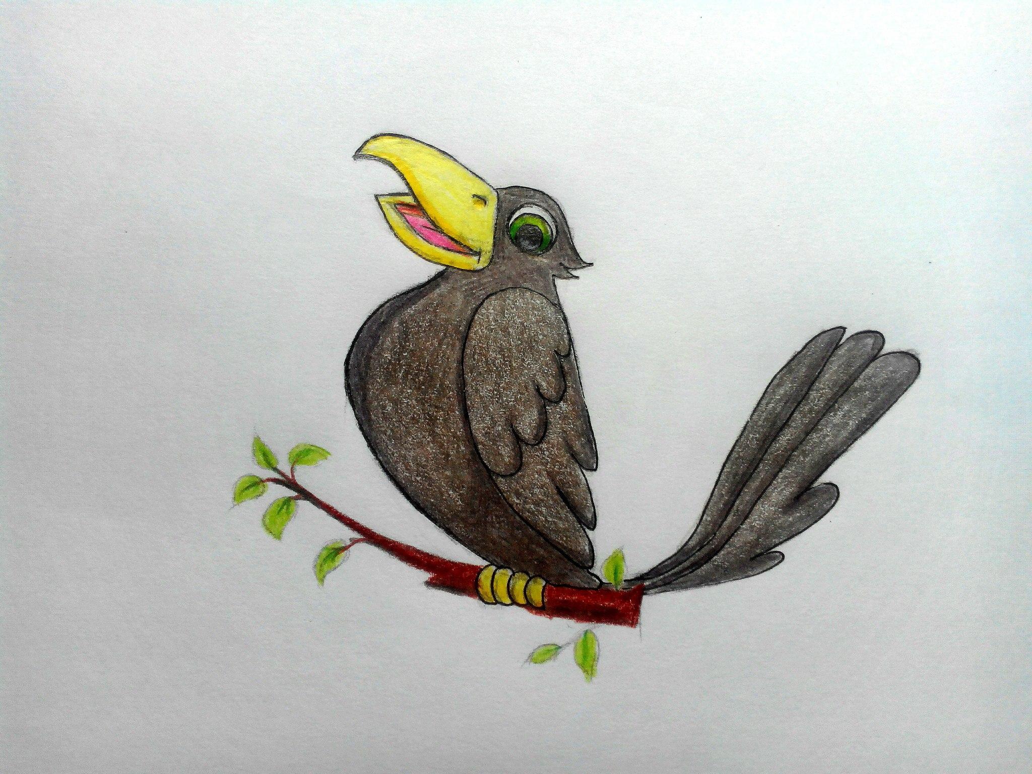 Как нарисовать грача карандашом поэтапно