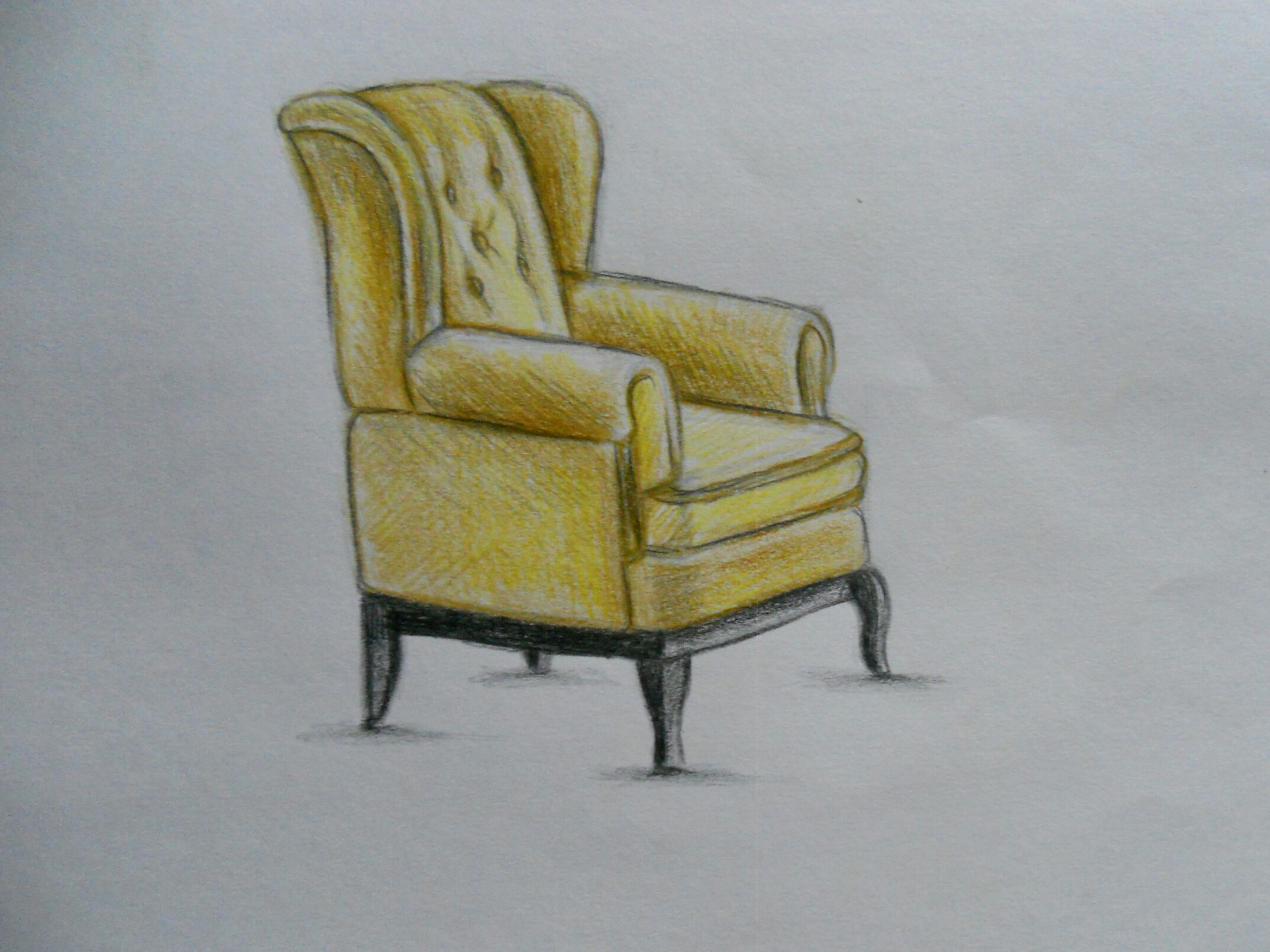 Как нарисовать кресло карандашом поэтапно?
