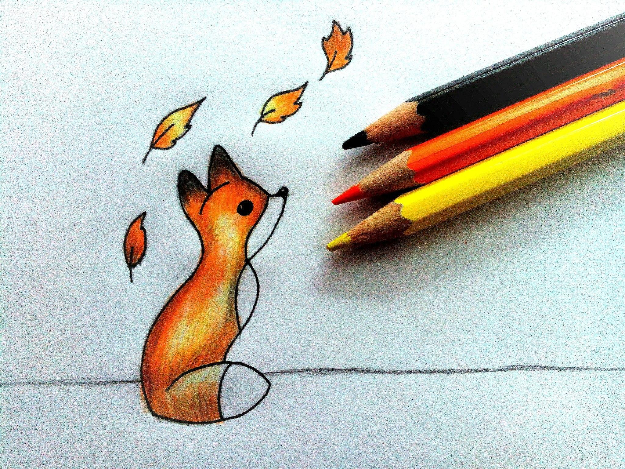 Как нарисовать лисенка карандашом поэтапно?
