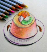 Как нарисовать пудинг с фруктами карандашом поэтапно