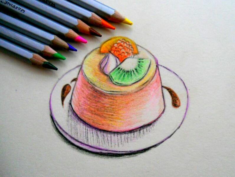 Как нарисовать пудинг с фруктами карандашом поэтапно?
