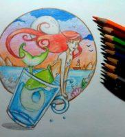 Как нарисовать Русалочку в стиле фэнтези карандашом поэтапно