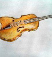 Как нарисовать скрипку карандашом поэтапно