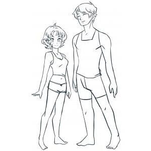 Как нарисовать парня и девушку Аниме карандашом поэтапно?