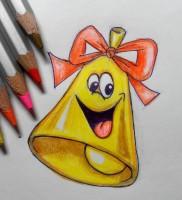 Как нарисовать колокольчик на 1 сентября карандашом поэтапно