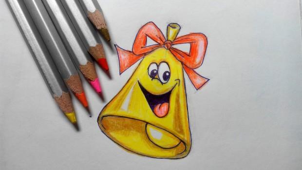 Как нарисовать колокольчик на 1 сентября карандашом поэтапно?