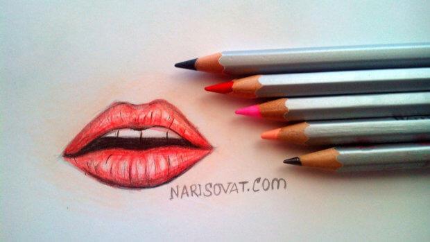 Как нарисовать губы карандашом поэтапно?