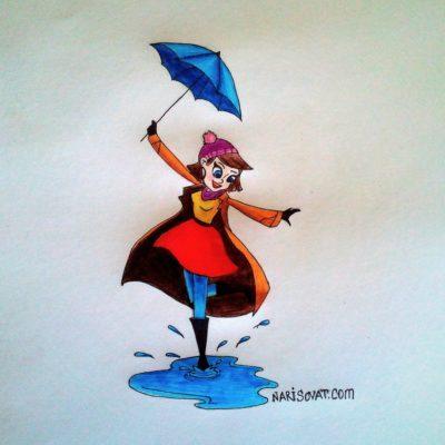 Как нарисовать девушку с зонтом карандашом поэтапно?