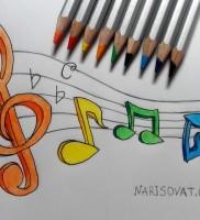 Как нарисовать ноты музыка карандашом поэтапно