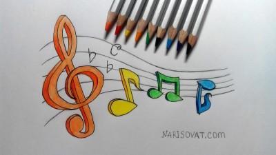 Как нарисовать ноты музыка карандашом поэтапно?