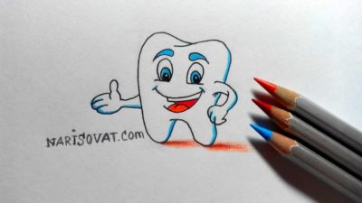 Как нарисовать зуб карандашом поэтапно?