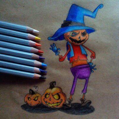 Как нарисовать тыкву к празднику Хеллоуин?