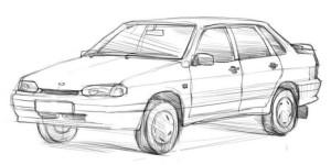 Как-нарисовать-ВАЗ-2115-карандашом-поэтапно-4