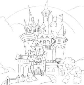 Как-нарисовать-замок-карандашом-поэтапно-3