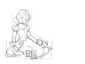 Как-нарисовать-Белоснежку-карандашом-поэтапно-3
