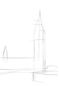 Как-нарисовать-Биг-Бен-карандашом-поэтапно-1
