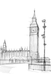 Как-нарисовать-Биг-Бен-карандашом-поэтапно-3