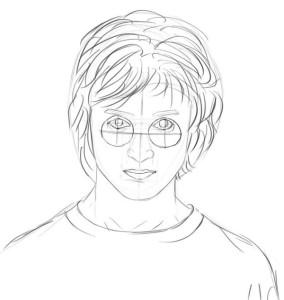 Как-нарисовать-Гарри-Поттера-карандашом-поэтапно-5